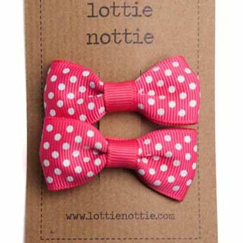 Lottie Nottie Pair of Small Bows, Bright Pink Swiss Dot