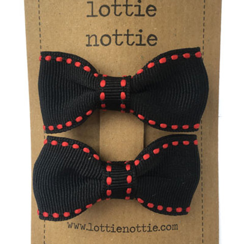 Lottie Nottie Pair of Small Bows, Black with Red Stitch