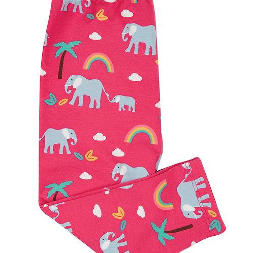 Frugi Libby Printed Leggings, Deep Pink Rainbow Walks