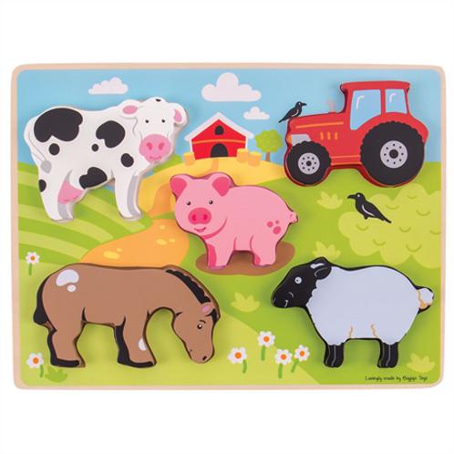 Bigjigs Chunky Lift Out Farm Puzzle