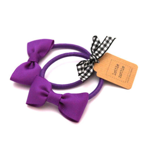 Lottie Nottie Small Bows on Hair Bands (Pair), Solid Purple