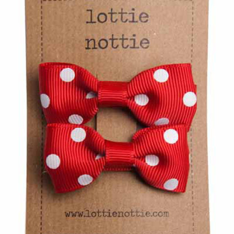 Lottie Nottie Pair of Small Bows, Red & White Polka Dot
