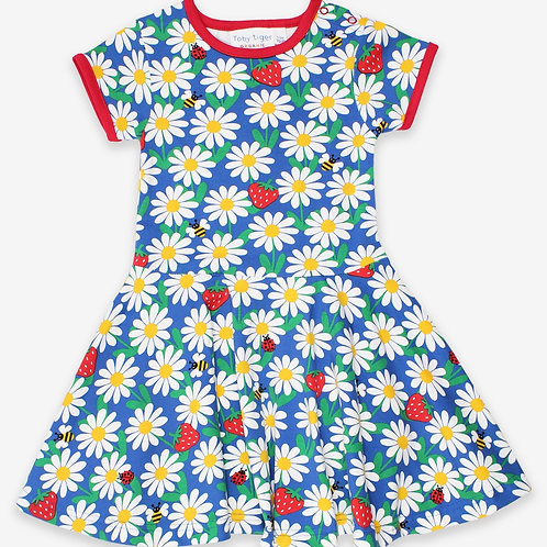 Toby Tiger Organic Blue Daisy Print Skater Dress