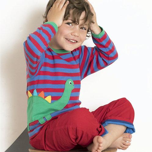 Toby Tiger Organic Dino Applique Long Sleeved Tshirt