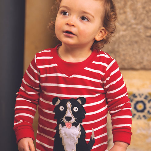 Frugi Easy On Top, Tango Red Breton/Dog