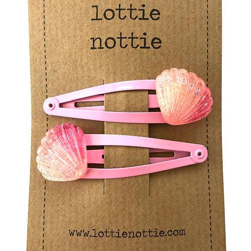 Lottie Nottie Hair Clips, Pink Seashell
