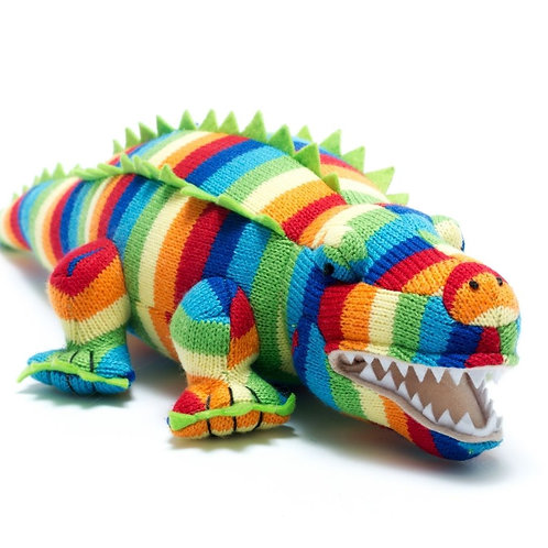Best Years Knitted Crocodile Striped Toy