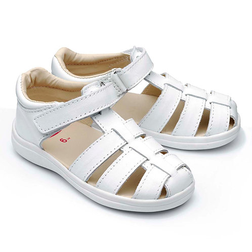 Chipmunk Nancy Leather Sandal, White