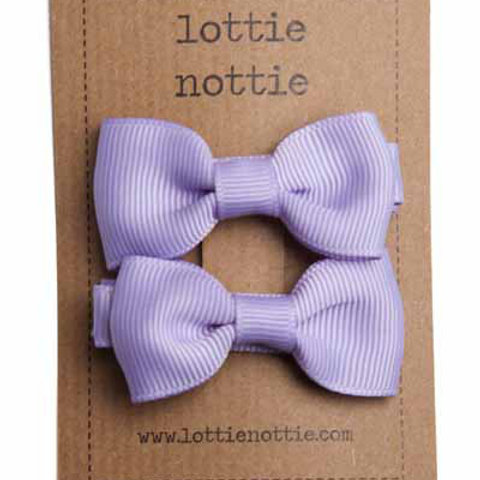 Lottie Nottie Pair of Small Bows, Solid Lilac