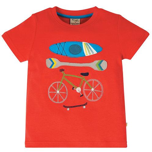 Frugi Carsen T-Shirt, Koi Red/Sports