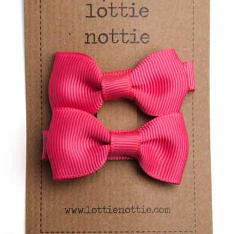 Lottie Nottie Pair of Small Bows, Bright Pink Solid