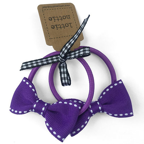 Lottie Nottie Small Bows on Hair Bands (Pair), Purple & White Stitch