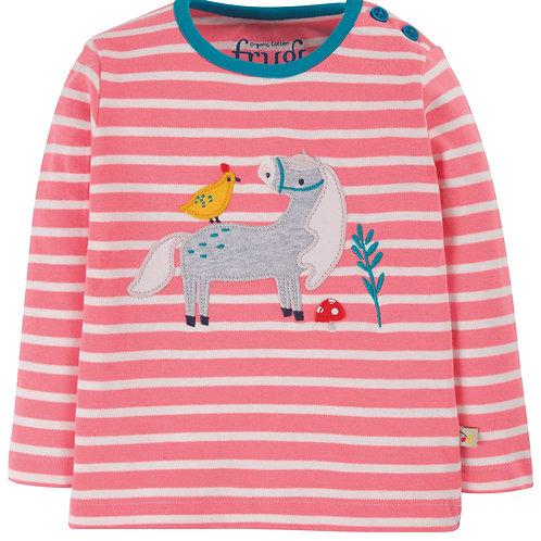 Frugi Button Applique Top, Guava Pink Stripe/Horse