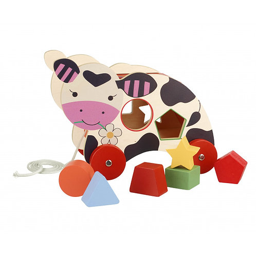 Orange Tree Toys Cow Pull-Along Shape Sorter