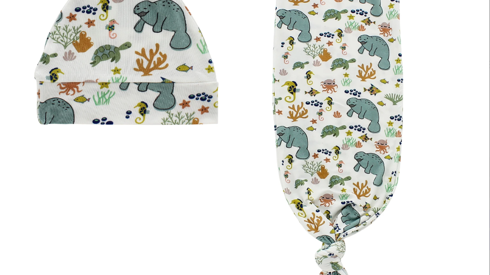 Manatee Baby Gown and Hat