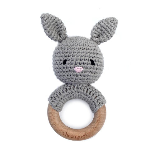 Bunny Crocheted Rattle withTeething Ring