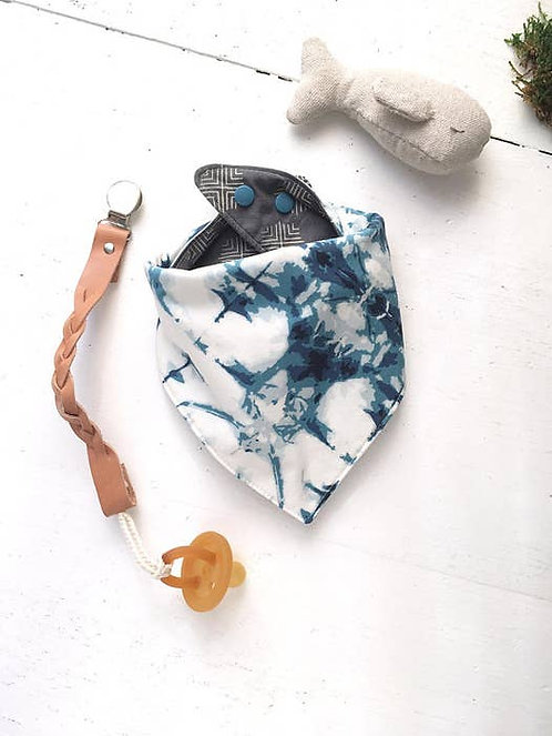 Indigo Blue Tie Dye and Gray Baby Bib REVERSIBLE
