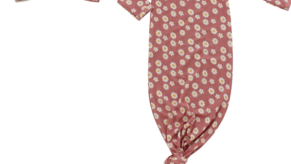 Rose Daisy Bamboo Baby Gown and Hat