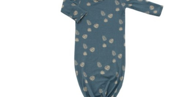 Blue Palm Baby Gown and Hat