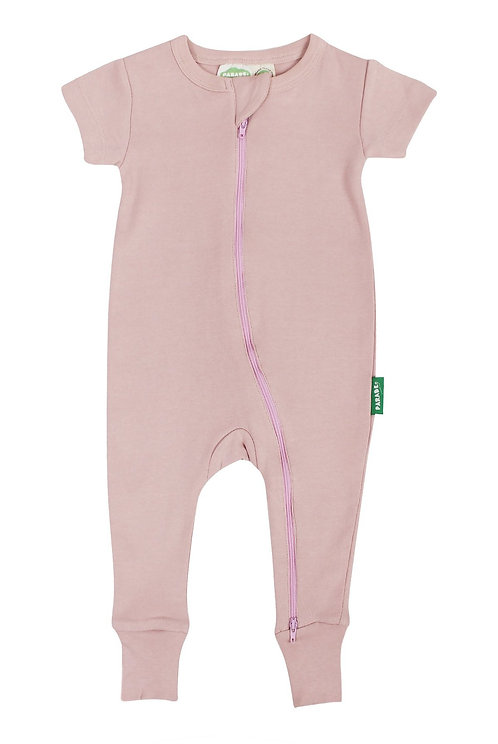 Parade Organics Short Sleeved 2 way zip Romper - Rose