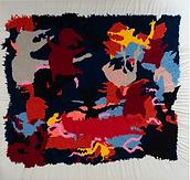 "Julian Farade ""Rude Awakening"" 130 x 130 cm  Embroideries"