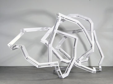 Nicolas Sanhes / 2021 / 210 x 340 x 140 cm / acier peint / Podgorny Robinson