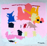 "Julian Farade ""Rude Awakening"" 120 x 120 cm  Embroideries"
