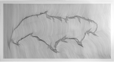 John Franzen / Each Line One Breath / 223 x 130 cm / Pencil on paper