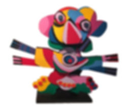 """Karel Appel """"Flower Clown"""", Sculpture, Wood, Prototype from an edition made in 1978, 100 x 122 x 25 cm"""