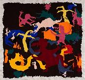 """Julian Farade """"Internal War"""" 90 x 90 cm  Embroideries"""