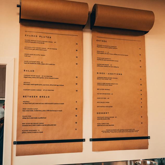 Culinary Affair Wall Menu