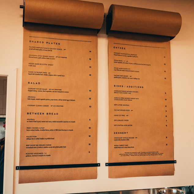 Culinary Affair Wall Menu