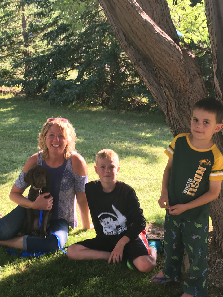 Jen and nephews with Coco