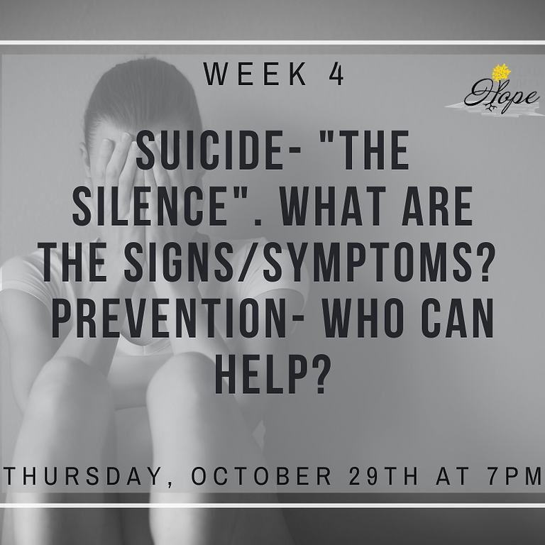 """Week 4- Suicide-  """"The Silence"""".  What are the signs/symptoms?  Prevention- who can help?"""