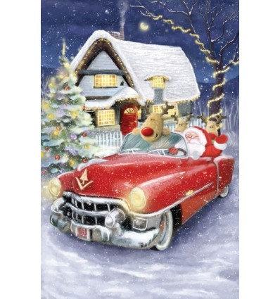 kerstman in auto