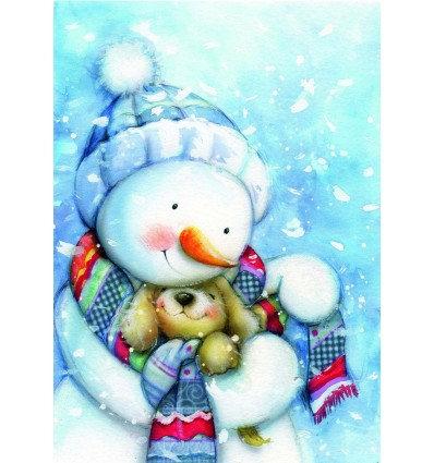 sneeuwman en puppy