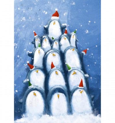 pinguins maken piramide