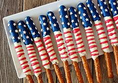 Bretzels sur le thème du drapeau américa