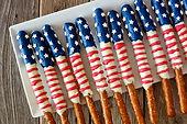 American Flag Themed Pretzels