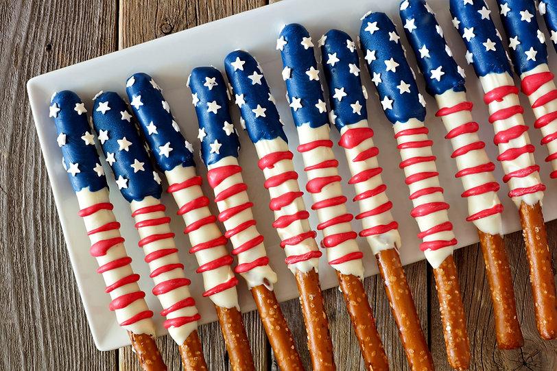 Pretzels temáticos de la bandera america