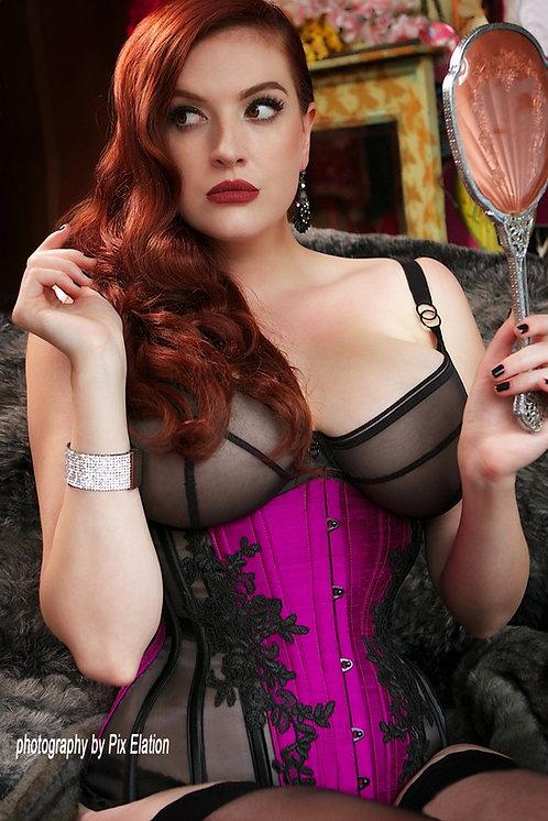 Silk Sheer Lace Contoured Underbust Corset