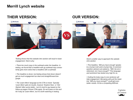 Content Cage Match - Merrill Lynch homepage