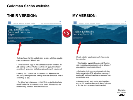 Content Cage Match - We take on the Goldman Sachs homepage
