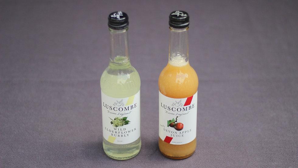 Luscombe apple juice or sparkling elderflower