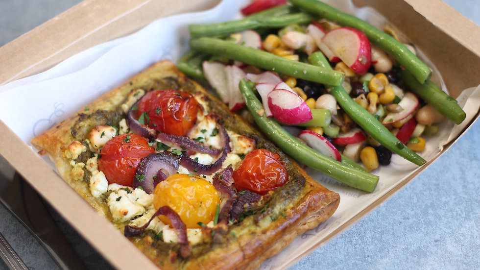 Tomato & feta tart with super-salad
