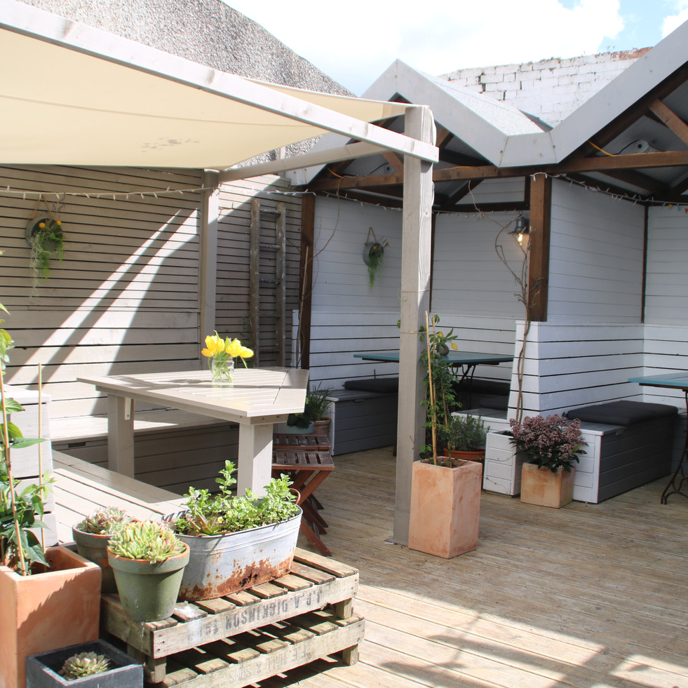 Our booths in the garden