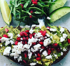 our famous topless sourdough: with avo, feta and pomegranate seeds