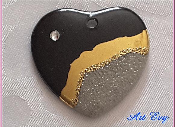 pendentif porcelaine gris noir or