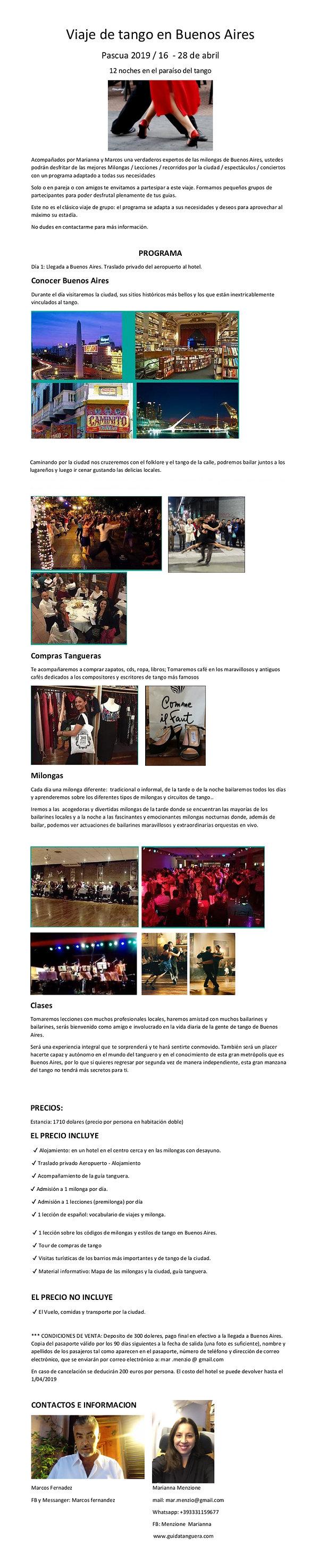 Viaje de tango Pascua 2019 en Buenos Air