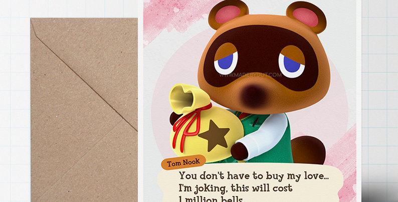 Love Greeting Card - Animal Crossing Themed - A5 size